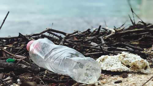 Environment Pollution - plastic bottle at the beach